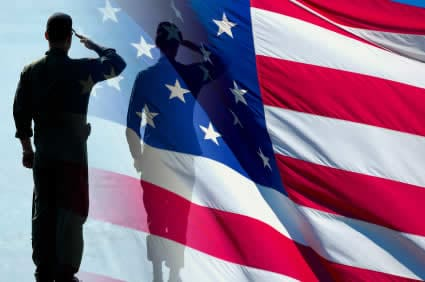 Picture of soldier silhouette saluting US flag for greeting, Thank you, Veterans!