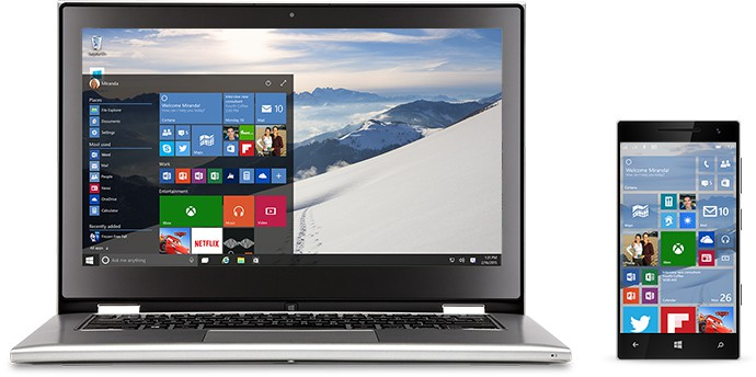 laptop and pda showing Windows 10 on Windows 10 Free Upgrade Offer page