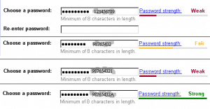 picture of four passwords, weak to strong, to illustrate an article about the 10,000 most-used passwords