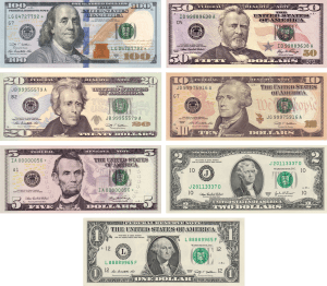 Picture of common U.S. Federal Reserve Notes to illustrate blog post: Enjoy savings on personal computers with the Wisconsin Sales Tax Holiday