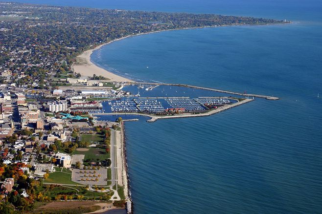 Aerial View of Racine, Wisconsin to illustrate Overcoming Ransomware article